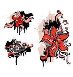 Red flowers Set grunge design element vector image vector image