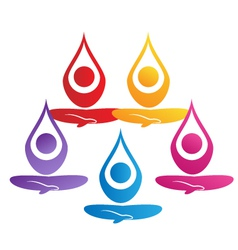 Team of yoga people logo vector