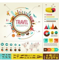 Travel and tourism infographics with data icons vector image vector image