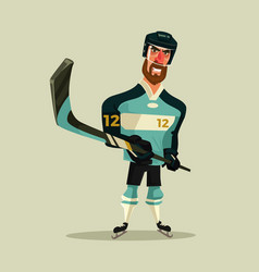 happy smiling hockey player character mascot vector image