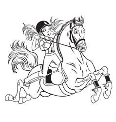 little girl on a pony horse vector image vector image