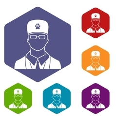 Veterinarian icons set vector image vector image