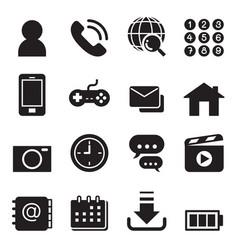 Basic smart phone application icons set vector