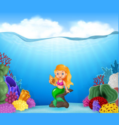 cartoon mermaid holding seashell with beautiful un vector image vector image