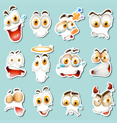 different facial expression on blue background vector image vector image