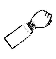 hand man with smart watch wearable technology vector image