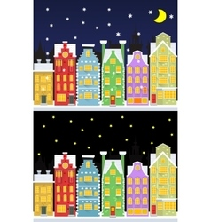 Old snow covered city street under snowfall vector