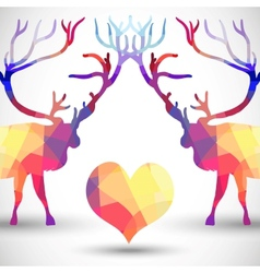 Silhouette a deer of geometric shapes with heart vector image vector image