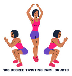180 degree twisting jump squats sport exersice vector