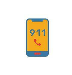 911 icon simple flat element from fire safety vector