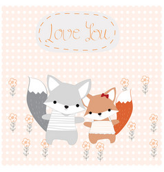 baby and girl fox cute animal in the garden vector image