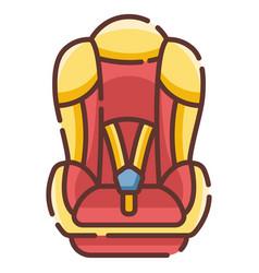 Baby car seat linecolor vector
