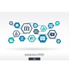 Banking network Hexagon abstract background vector image