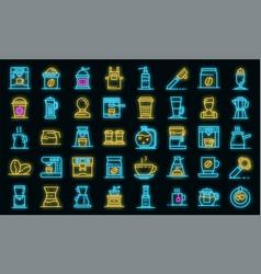barista icons set neon vector image