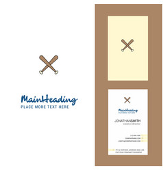 baseball bat creative logo and business card vector image