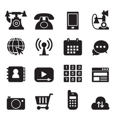 basic phone application icons set vector image