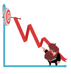 bearded businessman points a finger at the arrow vector image