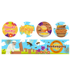 beekeeping apiary agriculture banners vector image