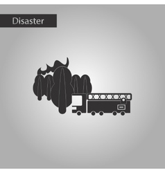 Black and white style icon Forest fire truck vector