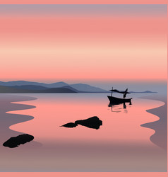 Boat on the sunset vector