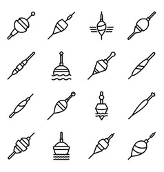 bobber icons set outline style vector image