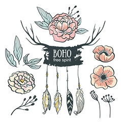 Boho style wedding invitation elements set Flowers vector