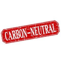 Carbon-neutral red square vintage grunge isolated vector