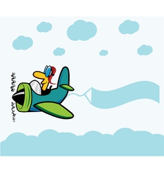 Cartoon plane with pilot clouds and advertising vector