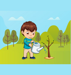Child caring for nature boy with watering can vector