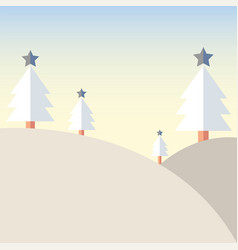 christmas tree on mountain with snow vector image