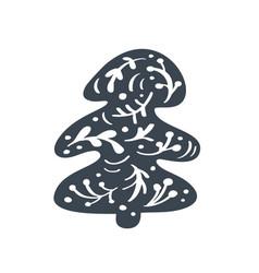 christmas tree scandinavian icon silhouette vector image