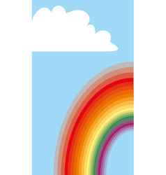 cloudscape background with clouds and rainbow vector image