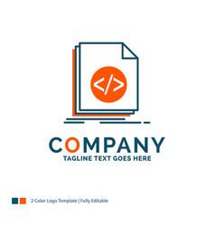 code coding file programming script logo design vector image