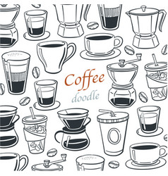 collection coffee doodle elements for cafe menu vector image