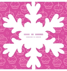 Colorful cupcake party Christmas snowflake vector
