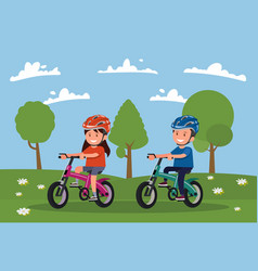 cycling boy and girl go for a drive on bicycles vector image