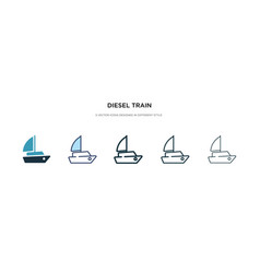 Diesel train icon in different style two colored vector