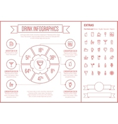 Drink Line Design Infographic Template vector image