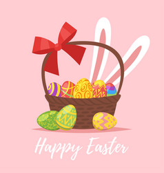 easter greeting card with festive basket vector image