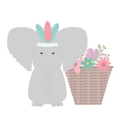 elephant with feathers hat and basket flowers vector image