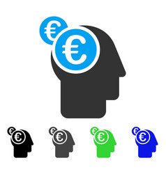 Euro businessman intellect flat icon vector