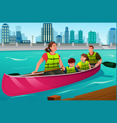 Family canoeing together vector