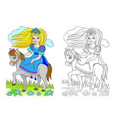 fantasy cute little riding princess colorful vector image
