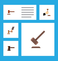 Flat icon court set of crime tribunal defense vector