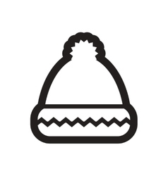 Flat icon in black and white winter hat vector