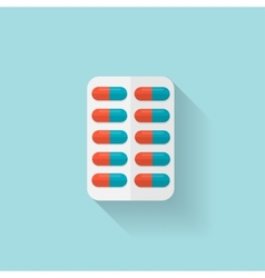 Flat medical pills icon Tablets symbol Health vector image