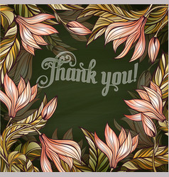 floral frame with lettering thank you vector image