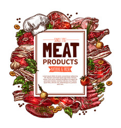 Fresh meat product sketch poster for food design vector