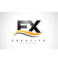 Fx f x swoosh letter logo design with modern vector