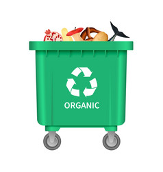 garbage organic container mockup realistic style vector image